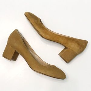 BANANA REPUBLIC Cognac Suede Career Block Heels
